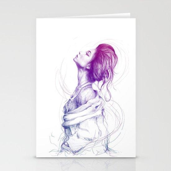 Pretty (Purple) Lady Portrait Stationery Card