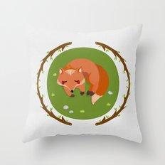 sleeping mr fox Throw Pillow