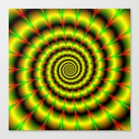 Spiral in Yellow Red and Green Canvas Print