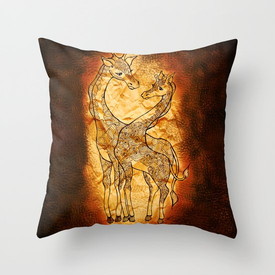 Henna Giraffe Throw Pillow