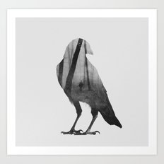 Crow (black & white version) Art Print
