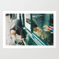 Man Working On Store Fro… Art Print