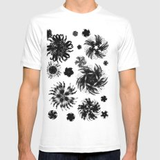 Abstract White Mens Fitted Tee SMALL