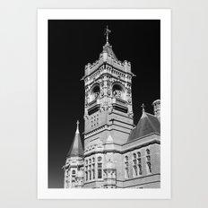 Pierhead Building Cardiff Bay Monochrome Art Print