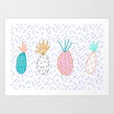 Pineapple. Illustration, print, pattern, fruit, design, fun, Art Print