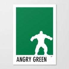 My Superhero 01 Angry Green Minimal poster Canvas Print