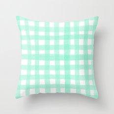 Gingham Mint Throw Pillow