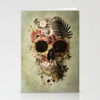 skull Stationery Cards featuring Garden Skull Light by Ali GULEC