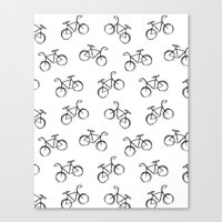 Sketchy Black and White Bicycle Bike Canvas Print