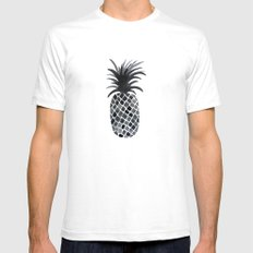 Black and White Pineapple Mens Fitted Tee White SMALL