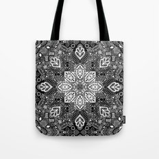 Gypsy Lace in White on Black Tote Bag