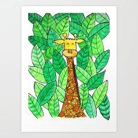 Watercolor Giraffe Art Print