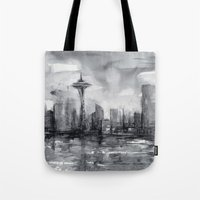 Seattle Skyline Painting Watercolor Black and White Space Needle Tote Bag
