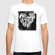 The World is Tired of Hate.  Mens Fitted Tee White SMALL