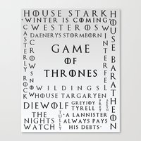 Game Of Thrones White To… Canvas Print