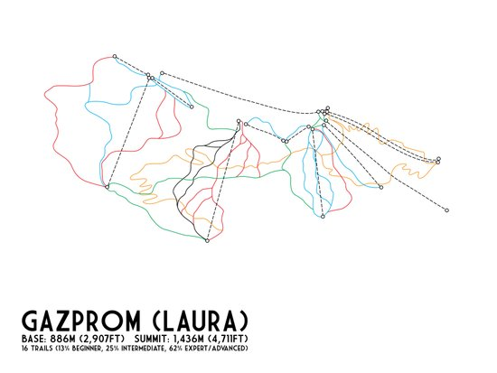 Gazprom (Laura) Mountain Resort, Sochi, Russia - European Edition - Minimalist Trail Art Art Print