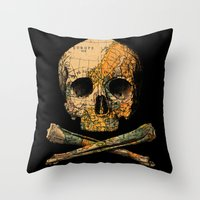 Treasure Map Skull Wande… Throw Pillow