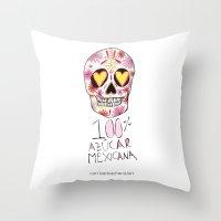 100% azucar mexicana Throw Pillow