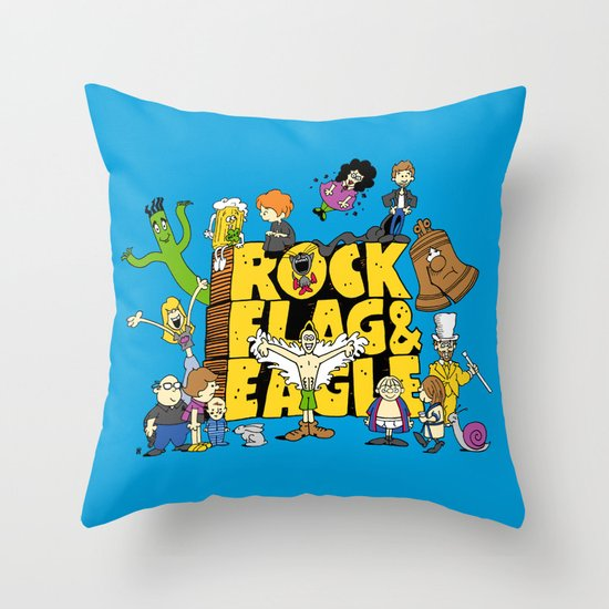 Rock, Flag & Eagle Throw Pillow