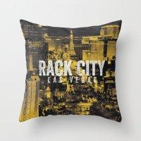 Black Yellow Cool Rack City Las Vegas Photography Throw Pillow