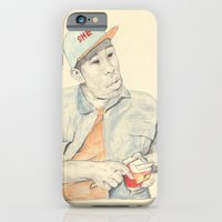 iPhone & iPod Case featuring Tyler with an apple by withapencilinhand