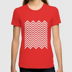 Black Lodge Zig Zag Womens Fitted Tee Red SMALL