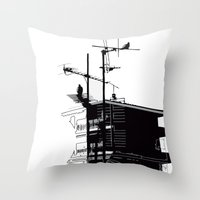 French rooftops Throw Pillow
