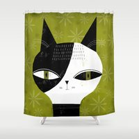 GREEN EYED CAT Shower Curtain