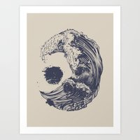 waves Art Prints featuring Swell by Huebucket