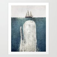 sea Art Prints featuring The Whale - vintage  by Terry Fan