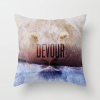 Devour Nature Like A Lion Throw Pillow