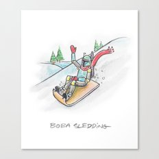 Boba Sledding Canvas Print