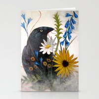 Crow With Red Thread Stationery Cards