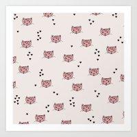 Cute Kitty Cat Love Illu… Art Print