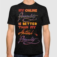Online Personality Mens Fitted Tee Tri-Black SMALL
