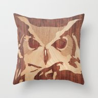 Owl Marquetry Throw Pillow