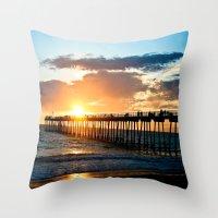 Hermosa Pier (2) Throw Pillow