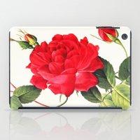 IX. Vintage Flowers Botanical Print by Pierre-Joseph Redouté - Red Rose iPad Case