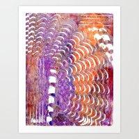 Purple and Orange Squiggle Print Art Print