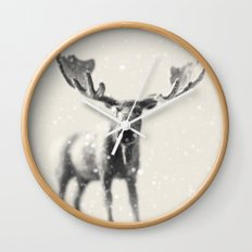 winter moose Wall Clock