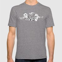 6 Fish Haircuts Mens Fitted Tee Tri-Grey SMALL