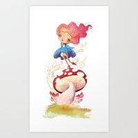 Girl And Shroom Art Print