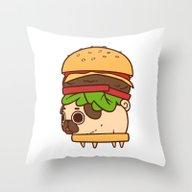 Puglie Burger Throw Pillow
