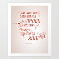 Soar - Illustrated quote of Helen Keller Art Print