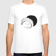 Moon Mode White SMALL Mens Fitted Tee