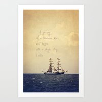 Sailing II With A Quote Art Print