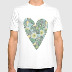 Green Patterned Heart Mens Fitted Tee SMALL White