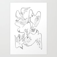 Doves flying Art Print
