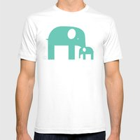 Blue Elephants Mens Fitted Tee White SMALL