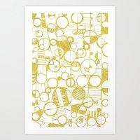 Golden Doodle Circles Art Print
